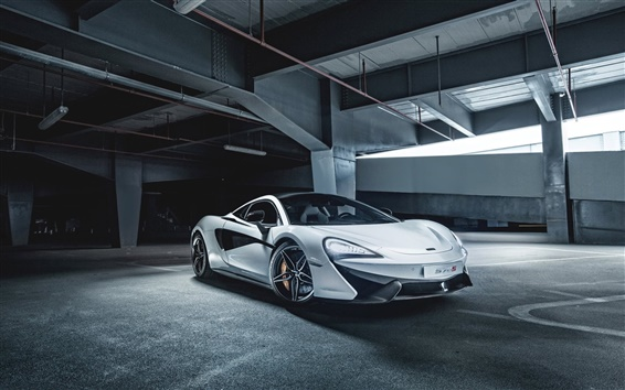 Wallpaper 2015 McLaren 570S white supercar, parking