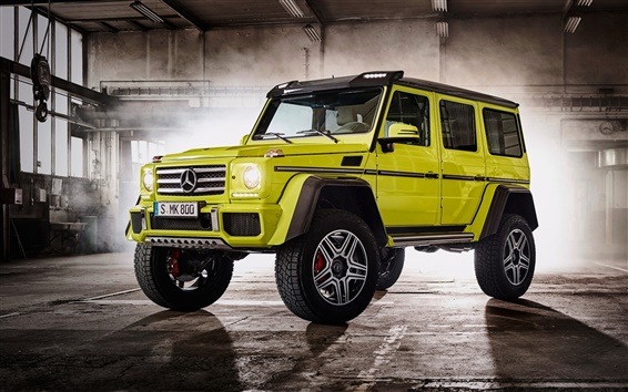 Wallpaper 2015 Mercedes-Benz G500 W463 green SUV car