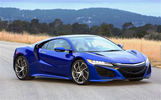 Wallpaper 2016 Acura NSX blue luxury supercar