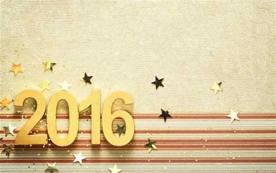 Wallpaper 2016 Happy New Year, golden, numbers, stars