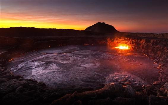 Wallpaper Africa, Ethiopia, volcano, lava, mountains, dawn