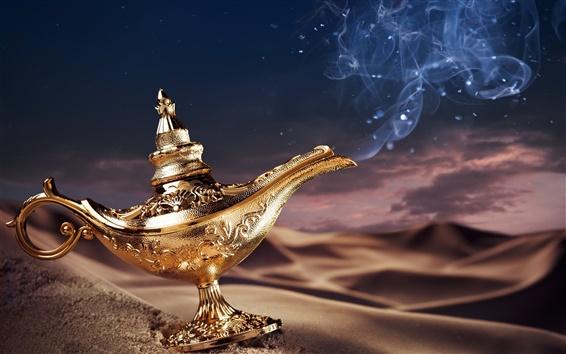 Wallpaper Aladdin's lamp, magic, golden, desert