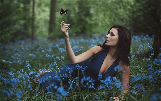 Wallpaper Amy Spanos, girl and flowers, butterfly