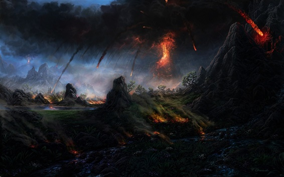Wallpaper Art painting, volcano, lava, trees, mountain, smoke