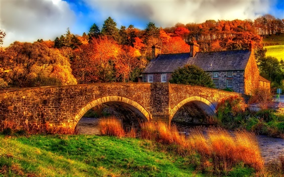 Wallpaper Autumn, river, bridge, house, trees, HDR scenery