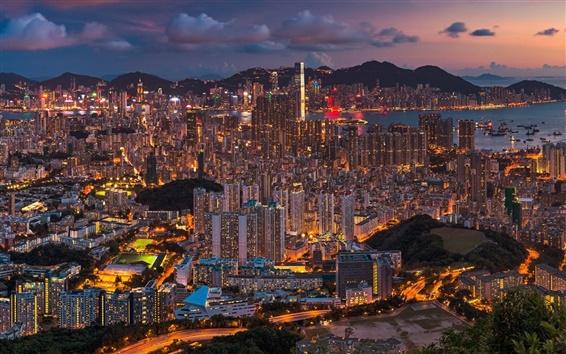 Wallpaper Beautiful city night, Hong Kong, China, buildings, lights
