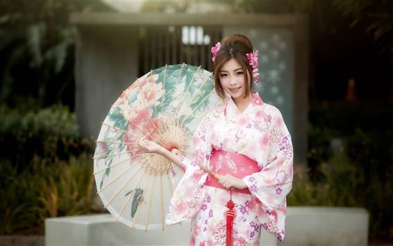 Wallpaper Beautiful japanese girl, kimono, umbrella