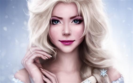 Fondos de pantalla Princesa hermosa, Helado, Elsa, el dibujo del arte