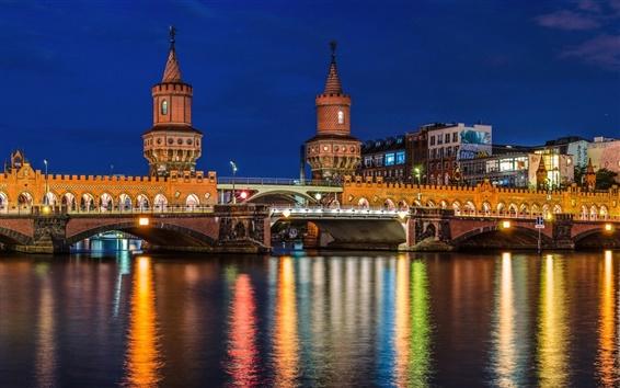 Fond d'écran Berlin, Allemagne, ville, rivière, pont, maisons, lumières, nuit
