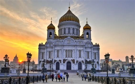Обои Собор, Церковь, Москва, Россия, люди, сумерки
