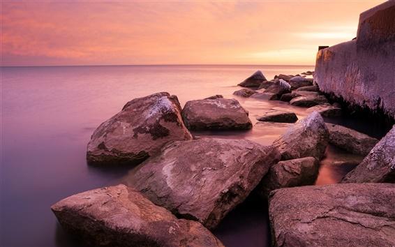 Wallpaper Chicago, Hyde park, Michigan shore, sunrise, sea