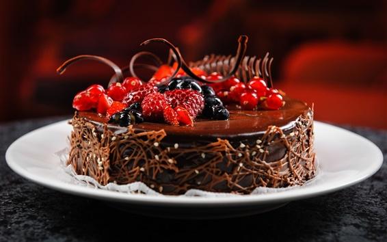 배경 화면 초콜릿 케이크, 딸기, 나무 딸기, 블루 베리, 건포도, 디저트
