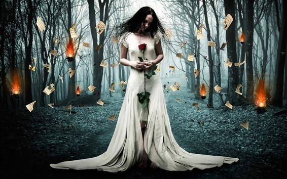 Fondos de pantalla Diseño creativo, papel quemado, blanco vestido de la muchacha, bosque, árboles, fuego