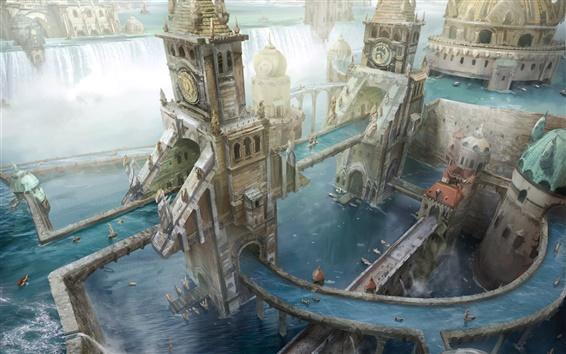 Fond d'écran Creative conception, les gens, chute d'eau, bateau, tour, ville