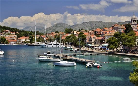 Wallpaper Croatia, city, dock, pier, boats, houses