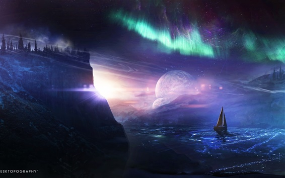 Wallpaper Desktopography, creative pictures, planet, ship, northern lights, water