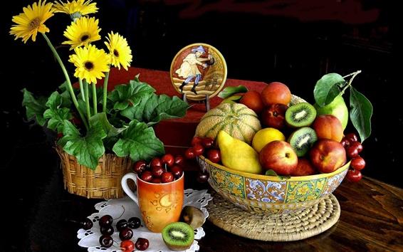壁紙 花、果物、まだ生活、チェリー、メロン、キウイ、梨、桃