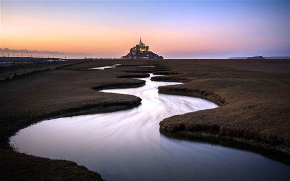 Wallpaper France, Normandy, castle, river, water, morning