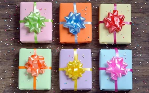 Обои Подарочные коробки, деревянные, красочные луки