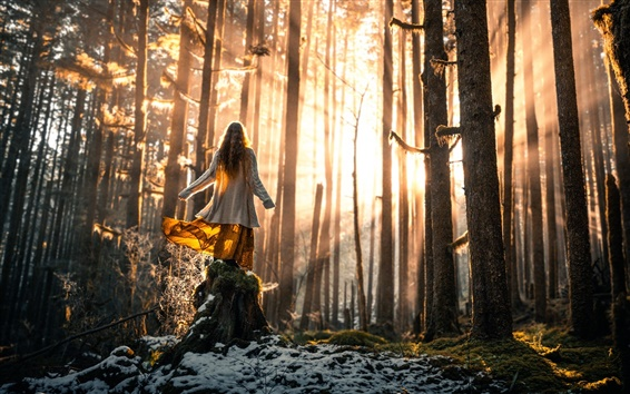 Wallpaper Girl in forest, trees, snow, sun