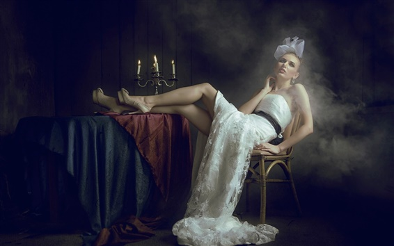 Wallpaper Girl in the dark, white dress, candles, smoke