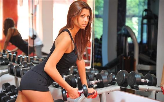 Wallpaper Girl, sport, dumbbell, workout, sportswear