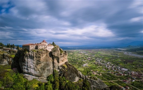 Wallpaper Greece, Meteora, valley, mountains, monastery, town