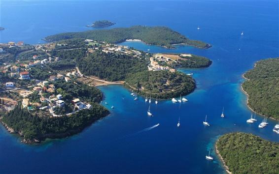 Wallpaper Greece, Sivota, sea, coast, yachts, Islands, blue