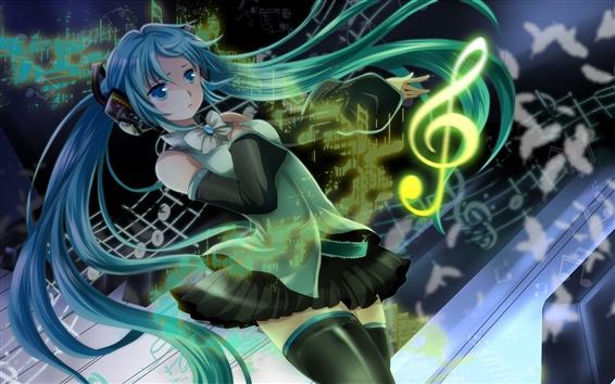 Wallpaper Hatsune Miku, blue hair girl, headphones, music, anime
