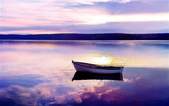 Wallpaper Lake, sunset, boat, evening