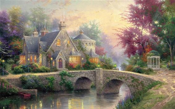 Fond d'écran Manoir lampe, peinture d'art, maison, pont, rivière, lampes, arbres, crépuscule