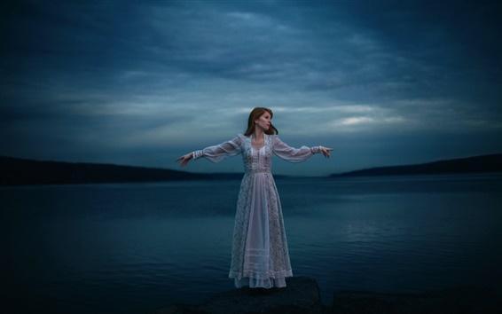 Wallpaper Lonely girl, lake, white dress, night