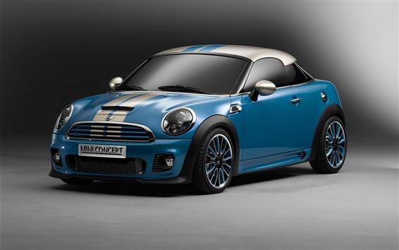 Wallpaper MINI Cooper coupe, blue concept car