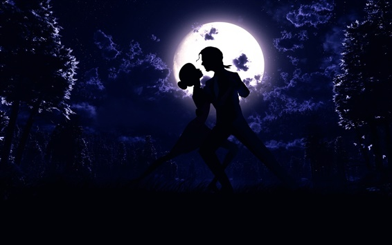 Wallpaper Moon, night, pair, dance, love, silhouette, art pictures