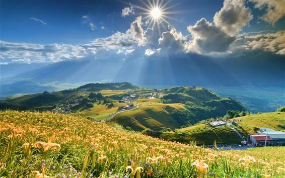 Fond d'écran Montagne, pente, lys fleurs, soleil, nuages, maisons