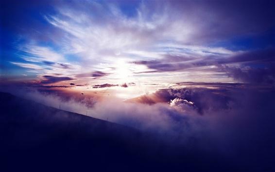 Wallpaper Mountains, slope, clouds, sun, sunset