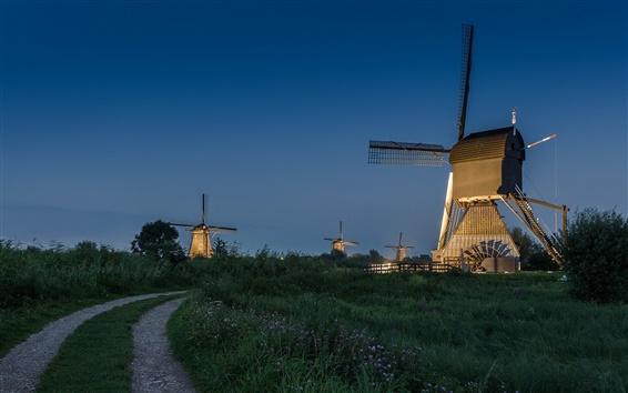 Wallpaper Netherlands, windmill, night, road, lights