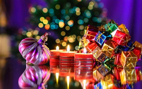 Fond d'écran Nouvel An, cadeaux, jouets, bougie