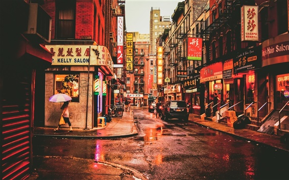 Fond d'écran New York, Chinatown, États-Unis, la rue, les restaurants, les voitures, les gens