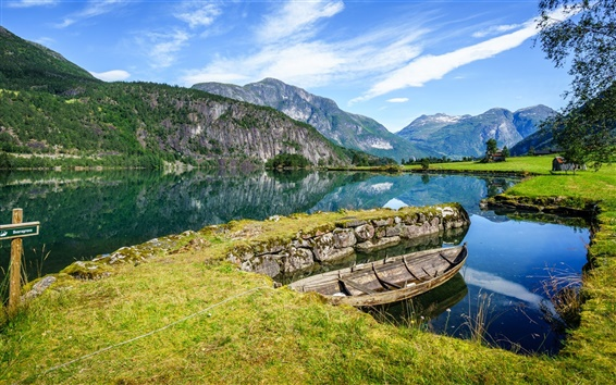 Wallpaper Norway, Stryn, mountains, fjords, river, water, boat