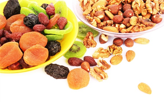 Wallpaper Nuts, dried fruits, kiwi, apricots, prunes