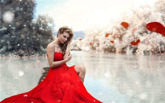 Wallpaper Red dress girl, lake, leg, makeup
