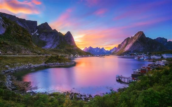 Fondos de pantalla Reine, Nordland, Lofoten archipiélago, Noruega, pueblo, bahía, montañas, puesta del sol