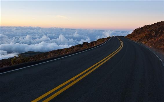 Wallpaper Road, mountains, rocks, sky, clouds, horizon