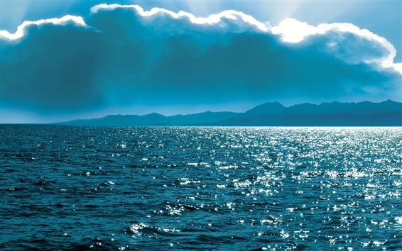 Wallpaper Russia nature scenery, Baikal, lake, coast, clouds, sun, blue sky