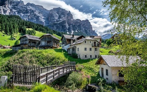 Wallpaper San Cassiano, Alta Badia, Italy, Dolomites, village, house, bridge, mountain