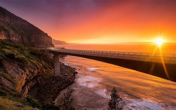 Wallpaper Sea Cliff Bridge, NSW Australia, sunset, mountains, sea, red sky