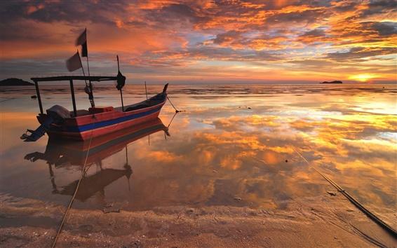 Wallpaper Sea, beach, boat, sunset, water reflection