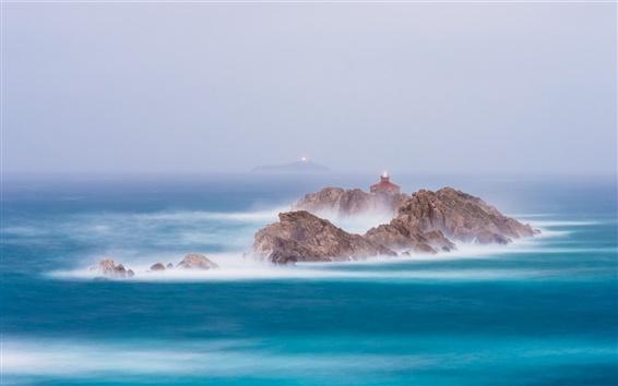 Обои Море, скалы, маяки, туман
