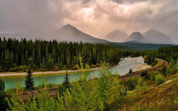 Fondos de pantalla Cielo, nubes, montañas, bosque, río, ferrocarril, atardecer